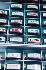 Wall of Rubber Stamps for Business