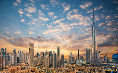 Spoed Fotobehang Dubai Amazing panoramic view on Dubai futuristic skyline, Downtown Dubai, United Arab Emirates