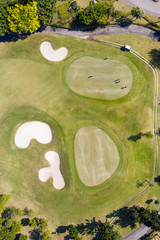 Aerial view of the golf course and surrounding roads