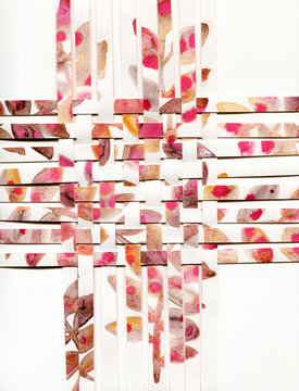 Watercolor woven paper collage isolated on white
