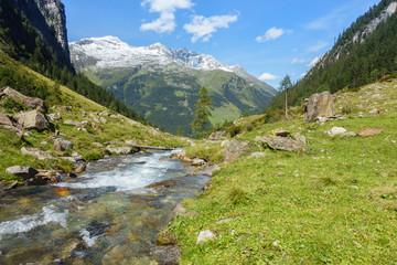 Fototapete - Gebirgsbach mit klarem Quellwasser im Zillertal in Tirol
