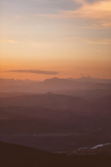 Abstract textures with mountains at sunset