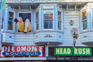 SAN FRANCISCO, USA - DECEMBER 15, 2013:  Haight Ashbury neighborhood in San Francisco, California, United States of America, a hippy area.