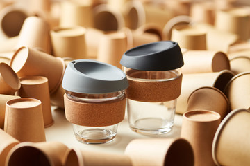 Reusable glass cups for coffee