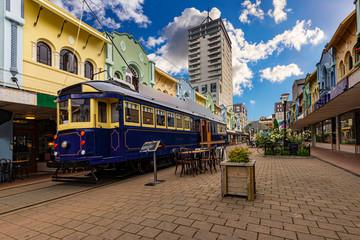 New Zealand, South Island. Christchurch, Canterbury Region. Tram at New Regent Street