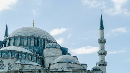 Amazing mosque with cupola and towers and blue sky. View of the dome of the Blue Mosque.