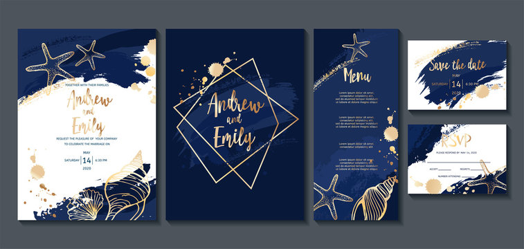 Wedding invitation card with abstract navy blue background and gold seashells. Menu card, Save the Date and RSVP card templates