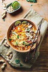 Food: Spicy peanut coconut vegetable noodle bowl
