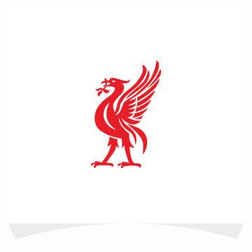 Red bird logo design vector template
