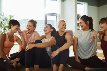 Group of women in fitness class