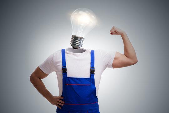 Worker in bright idea concept