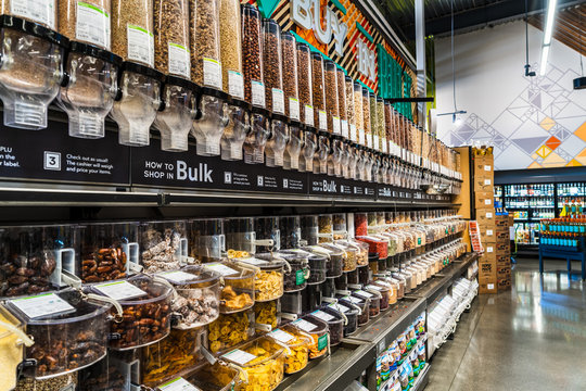 July 24, 2019 Santa Clara / CA / USA - Bulk section in a Whole Foods store in South San Francisco bay area