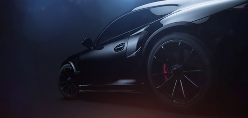 Back of the black sports car in dark environment (3D Illustration)