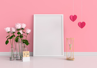 Empty photo frame for mockup, Valentine Concept, 3D rendering