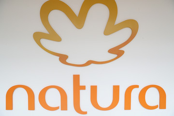 The logo of Natura is picture at the company headquarters in Sao Paulo
