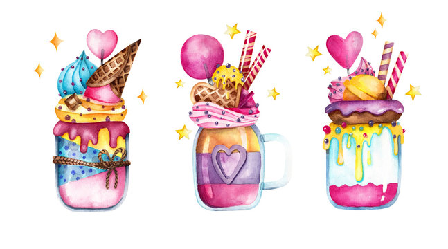 Colorful watercolor sweet delicious painting. Hand drawn decorated jar desserts with ice cream, donuts, lollipops, cream and waffles. Desserts in a jar isolated on white background with cute stars.