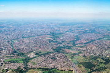 Top view of a city with low density constructions, few tall buildings. Aerial view of Campo Grande MS,  the capital of Mato Grosso do Sul, Brazil - 2019 photo. South region of the city.