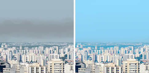 City with fresh air and a polluted air city side by side. Same place with pollution and without pollution of a big city. City of Sao Paulo SP Brazil.