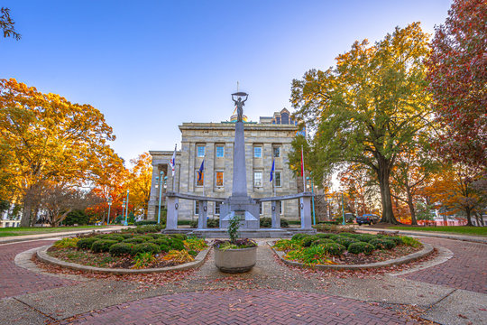 View of North Carolina State Capitol building in fall season,Raleigh,NC,USA