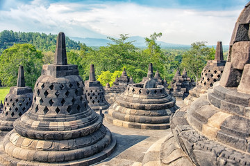 Spoed Foto op Canvas Bedehuis Borobudur buddhist monument in Central Java, Indonesia