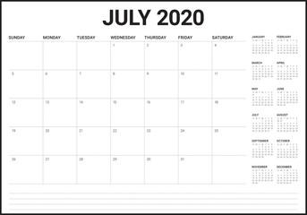 July 2020 desk calendar vector illustration