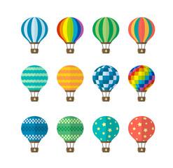 Hot air balloon flat vector illustration set