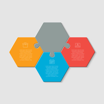 Three puzzle jigsaw hexagon line info graphic.