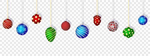 Colorful christmas balls set on transparent background