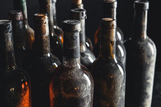Many bottles of wine in cellar