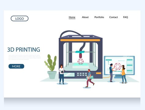 3d printing vector website landing page design template