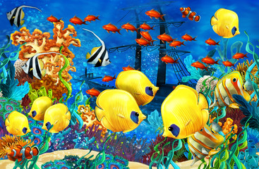 Poster Submarine cartoon scene animals swimming on colorful and bright coral reef - illustration for children