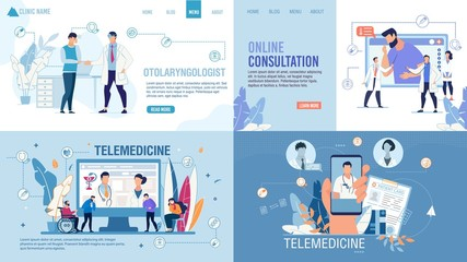 Landing Page Set Advertising Telemedicine Services. Online Consultation via Internet on Smartphone and Computer. Smart Medicine. Healthcare for Disabled, Sick, Weak-Eyed Patients. Vector Illustration