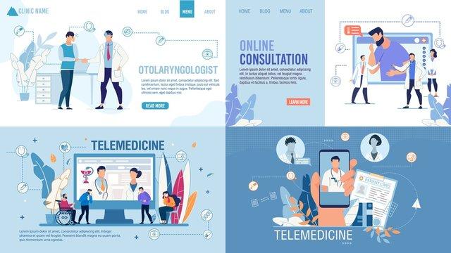 Landing Page Set Advertising Telemedicine Services. Online Consultation via Internet on Smartphone and Computer. Smart Medicine. Healthcare for Disabled, Sick, Weak-Eyed Patients. Vector Illustration