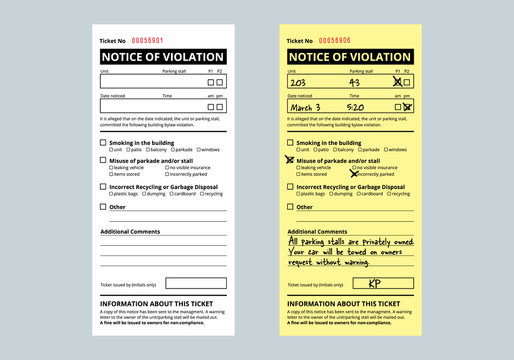 Notice of violation ticket for building bylaws. Bylaw infraction. Strata or rental property management tool to warn about smoking, parking and recycling.  Vector