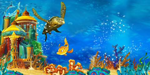 Photo sur Aluminium Bleu jean cartoon scene animals swimming on colorful and bright coral reef - illustration for children