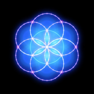 Sacred geometry, seed of life. Vector art.
