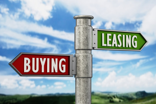 Signpost with buying and leasing arrows against the blue sky. 3D illustration