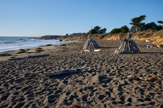 moonstone beach with driftwood structures