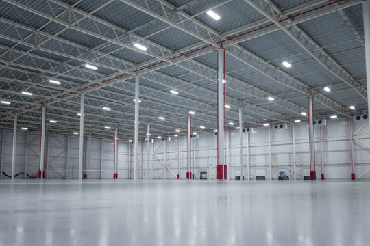 Big new empty warehouse. bright commercial space.