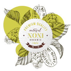 Round emblem with hand drawn noni