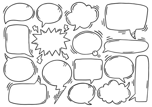 hand drawn background Set of cute speech bubble in doodle style