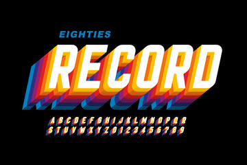 Retro eighties style font, alphabet letters and numbers