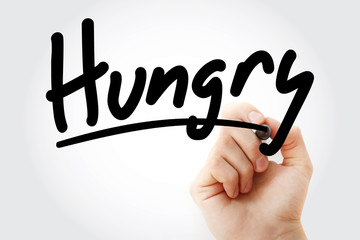 Hungry text with marker, health concept background