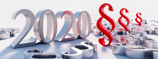 Silver paragraphs and the year 2020 numbers - 3d illustration