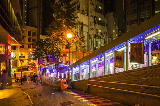 Hong Kong, China - December 10, 2016: Central-Mid-Levels escalator between Shelley and Staunton St, popular roads in Soho district, Central Hong Kong, famous for bars, restaurants, clubs and nightlife