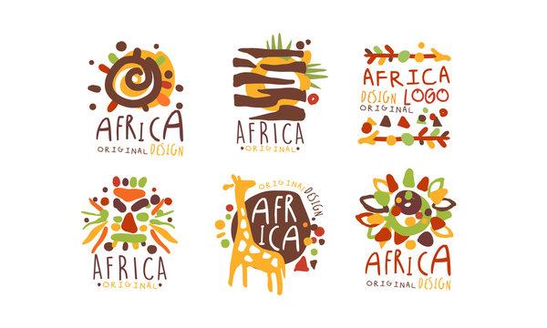Africa Logo and Label Original Design Vector Set