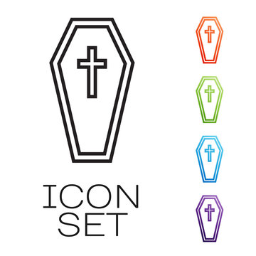 Black line Coffin with christian cross icon isolated on white background. Happy Halloween party. Set icons colorful. Vector Illustration