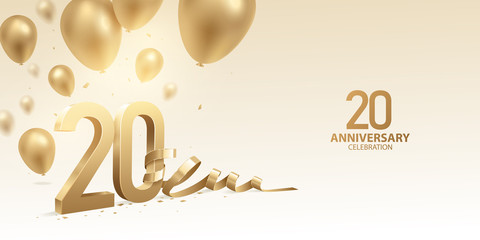 20th Anniversary celebration background. 3D Golden numbers with bent ribbon, confetti and balloons. Fotomurales