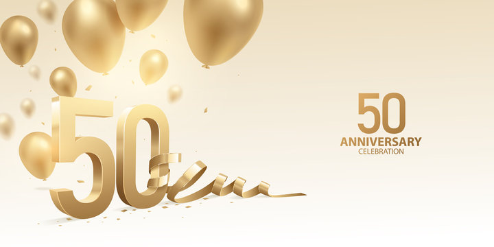 50th Anniversary celebration background. 3D Golden numbers with bent ribbon, confetti and balloons.