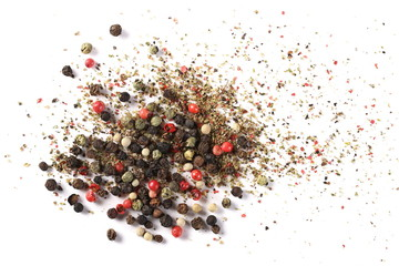 Deurstickers Hot chili peppers Colorful mixed pepper grains with crushed flakes, isolated on white background